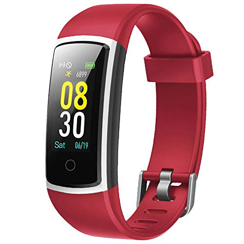 YAMAY Fitness Tracker with Blood Pressure Monitor Heart Rate Monitor Watch,IP68 Waterproof Activity Tracker 14 Modes Smart Watch with Step Counter Sleep Tracker,Fitness Watch for Women Men (Red)