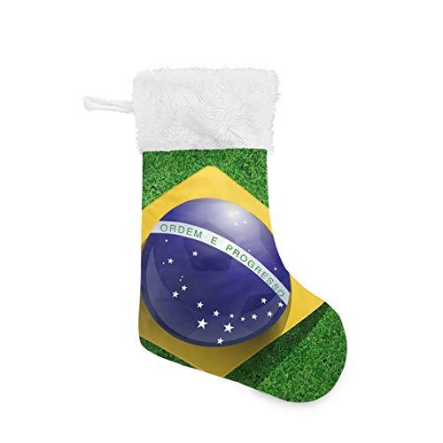 Vipsa Weihnachtsstrümpfe mit brasilianischer Flagge auf dem Feld, 45 cm, hängende Strümpfe für Weihnachtsdekoration, Multi, 2er-Pack