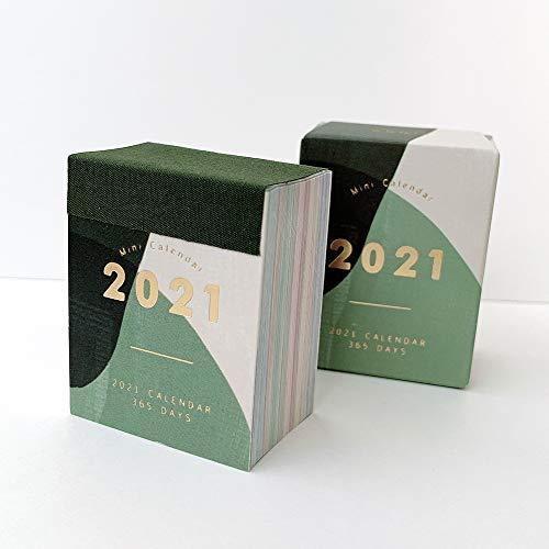 LUFASCA カレンダー 2021 日めくり カレンダー ミニカレンダー 手帳 日記 かわいい 365日 ミニサイズ ステーショナリー (グリーン)