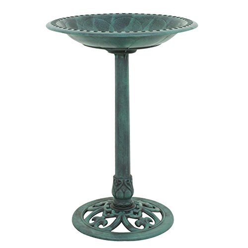 ZENY Birdbath 28' Height Pedestal Bird Bath Antique Outdoor Garden Decor Vintage Yard Art (Green)