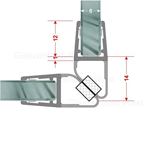 Magnetdichtungen 90° Magnetprofil Steckprofil Duschdichtung Glasdusche 1 Set für Glasstärke 4-6 mm