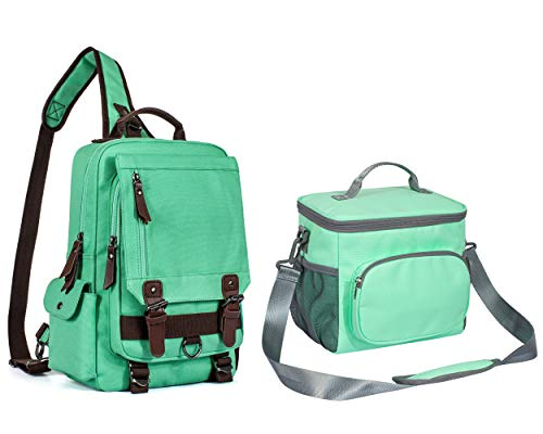 Leaper Canvas Messenger Bag and Portable Insulated Lunch Bag Bundle