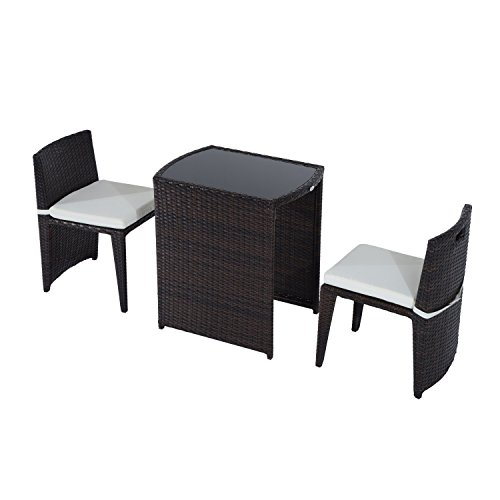 Outsunny 3 Piece Outdoor Patio Rattan Wicker Table and Chair Nesting Furniture Set