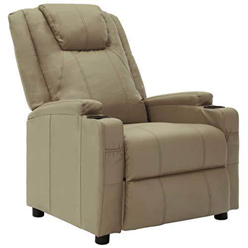 vidaXL Poltrona relax, poltrona relax per TV, sedia a sdraio, in ecopelle, colore: marrone cappuccino