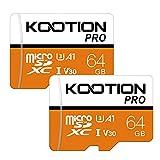 Kootion Micro SD Karten 64GB Speicherkarte 2er Pack Mini SD Karte MicroSDXC Card 64G U3 Memory Card(A1 UHS-I V30 4K) SD Karten 2 Stück Speicher SD Karte für Kameras Handy Tablets Android Smartphones