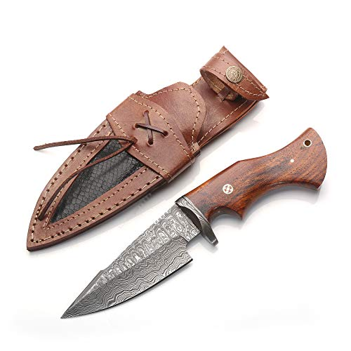 10' Hand Forged Damascus Steel HUNTING Knife With Wood Handle & Damascus Guard