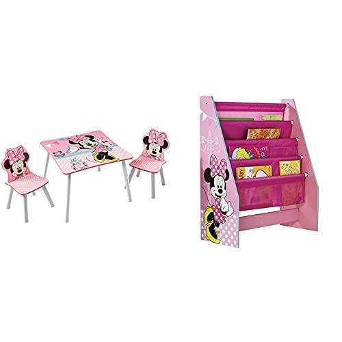 Worlds Apart (Wap) Minnie Tavolino Con Sgabelli, Legno_Composito, Multicolore, 63X63X45 Cm & Wap Portalibri A Tasche, Mdf/Tessuto, Rosa