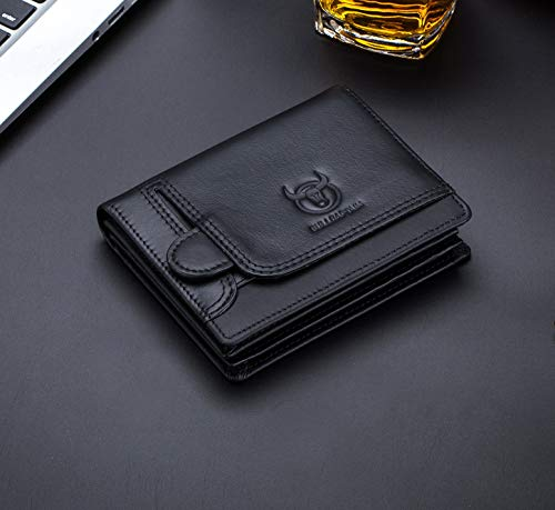 BULLCAPTAIN Men RFID Blocking Bifold Wallet Genuine Leather Card Holder Wallets with 15 Card Slots 3