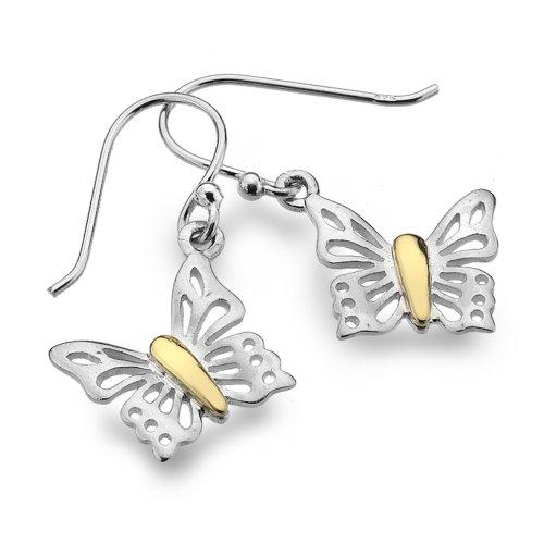 Pure Origins in argento Sterling 925 e orecchini con gancio a farfalla in ottone