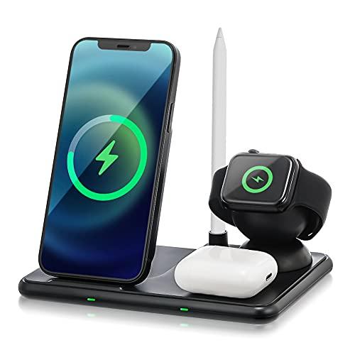 iSintek Suporte de carregador sem fio, estação de carregamento rápido 4 em 1 para iPhone 12 11 XR X Apple Watch 5 4 3 Airpods Pencil Wireless Charge
