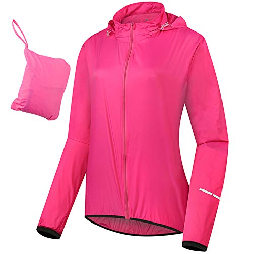 Chaqueta De Ciclismo para Mujer con Capucha, Alta Visibilidad Reflectante Impermeable Transpirable Chaqueta De Lluvia para Mujer, Cortavientos Ligera para Correr, XXXL