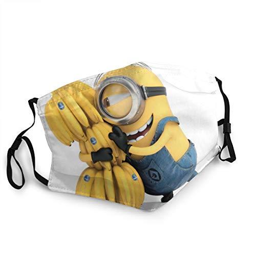 Sonickingmall Unisex Minions Bananen-Gesichtsmaske, Mundschutz, wiederverwendbar, Halstuch für Staub, Wind