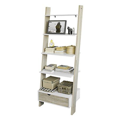 SoBuy Estanterías Librerias, Biblioteca de Almacenamiento en Rack 5 Estantes con 1 Armario Moderno, FRG112-WN, ES