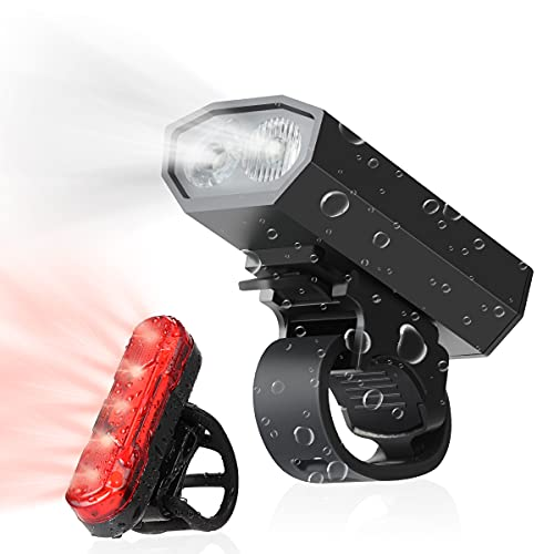 AIEVE Bike Lights Set, USB Rechargeable Cycle Light front and back, Super Bright Led IPX5 Waterproof Bicycle Lights Set Bike Headlight for All Bicycles, Camping, Mountain, Road, Children, Kids