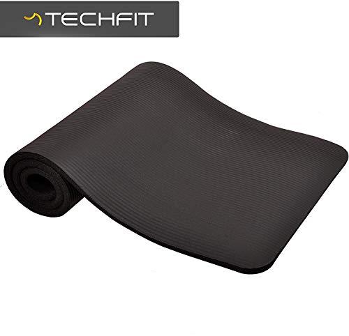 TechFit Fitness Yoga Tappetino, 10mm Extra Spessore, 180 x 60 cm, Ideale per Palestra, Esercizi del Pavimento, Campeggio, Stretching, ABS, Pilates (Nero)