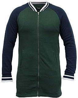 BRAVE SOUL Mens Long Line Sweatshirt Baseball Zip Fleece Lined Casual Winter