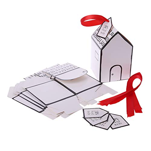 Baiyao DIY Caja de caramelos pintada a mano pequeña casa con lazo rojo caja de regalo para decoración de boda fiesta 01 multicolor