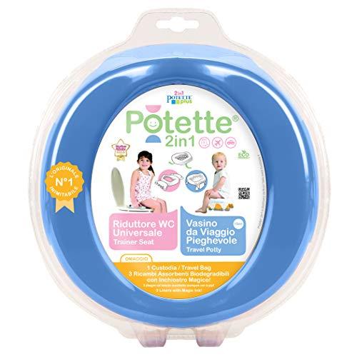 Potette 2in1 Blu, Vasino da Viaggio e Riduttore WC - include 3 ricambi