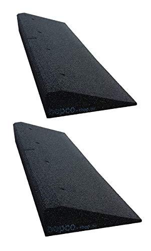 Bordsteinkanten-Rampe 2er Set (2 Stück) 40-100 mm aus Gummifasern (schwarz) - Auffahrrampe - Türschwellenrampe mit eingelagerten Unterlegscheiben zur Befestigung (100 x 25 x 6 cm)