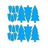 Fenteer 18 Piezas Copos de Nieve Pegatina de Ventana Calcomanía de Pared de Invierno Navidad Decoración de Fiestas de Navidad para Habitación de Niños, Vidrio - Pino azul