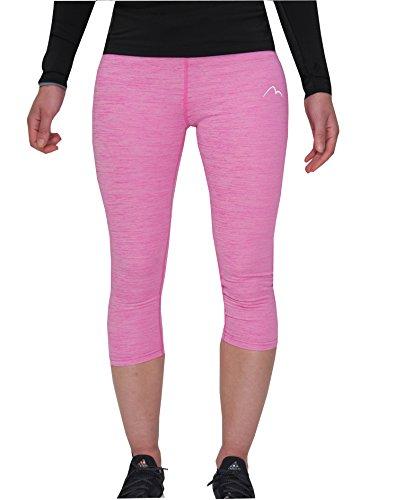 More Mile Heather Mädchen 3/4 Capri-Trainings-Leggings, für Fitness, Sport, Pink, 9-10 Jahre