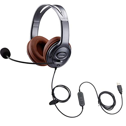 Emaiker USB Headset with Noise Cancelling Microphone Mic Mute In-Line Controller for Dragon Voice Recognition Dictation Comfortable PC Headphone for Virtual Meeting Office Skype Chat Zoom Calls Gaming