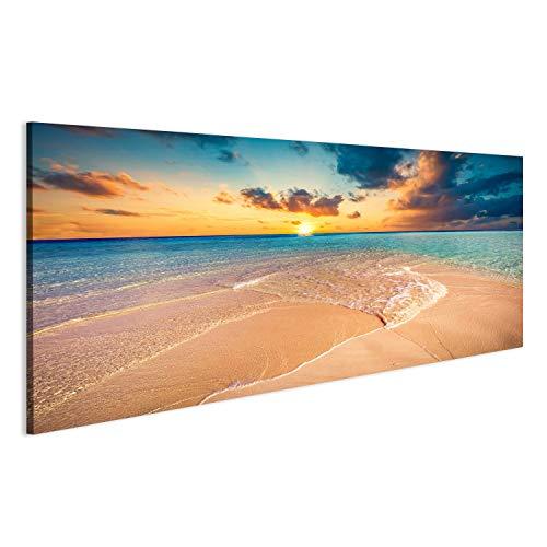 islandburner Quadro Moderno Spiaggia Tropicale con Sabbia Bianca e Mare Turchese Chiaro Maldive Stampa su Tela - Quadro x poltrone Salotto Cucina mobili Ufficio casa - Fotografica Formato XXL