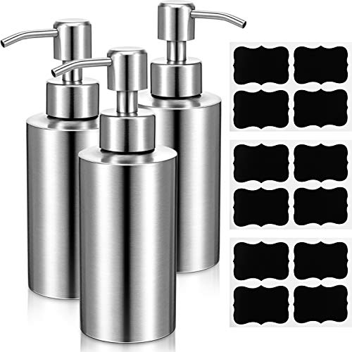 3 Pieces Soap Dispenser Stainless Steel Pump Bottles Rust Proof Hand Lotion Kitchen Bathroom Dispenser with 12 Waterproof Stickers for Essential Oils Lotions Liquid Soaps Dishwashing (Silver, 8.8 oz)
