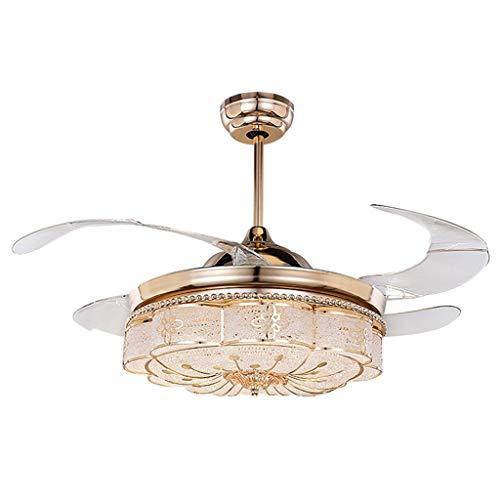 Ventilateurs de plafond avec lampe intégrée Lumière De Ventilateur De Plafond Lumière Dorée De Ventilateur De Plafond De Chambre À Coucher Télécommande LED Avec Lustre De Ventilateur ABS Feu De Ventil
