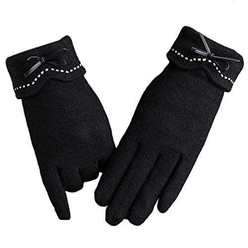 WuLi77 Women Winter Gloves,Cute Bowknot Plush Lined Mittens for Outdoor Cycling Running