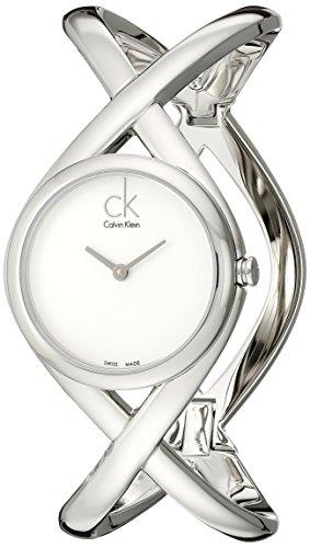 Calvin Klein K2L24120 - Reloj analógico de mujer de cuarzo con correa de acero inoxidable plateada