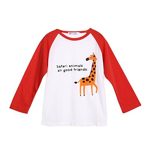 Camiseta infantil de manga comprida com estampa de roupas para bebês meninos e meninas (vermelha, 1-2T)