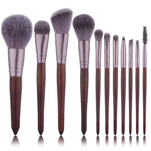 Brosse Maquillage Kit Maquillage Mahogany Portable Brosse 11 poignée Courte en Bois Super Soft Fibre Outils Brosse Beauté Brown pour Le Visage et cosmétiques Eye (Color : Brown, Size : One Size)