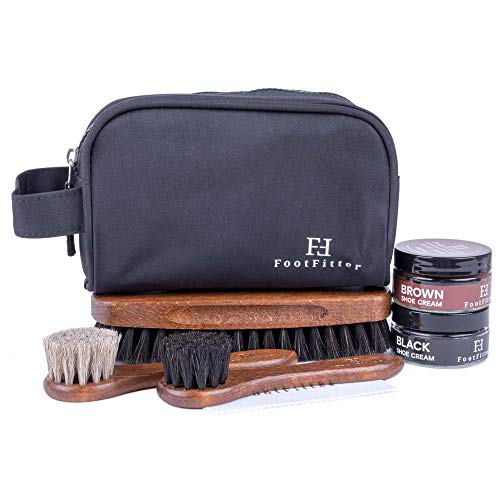 FootFitter Travel Shoe Shine Kit with Black & Brown Shoe Cream - Best Leather Shoe Conditioner