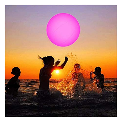Momola 13 Couleurs Ballon de Plage Incandescent Gonflable à LED, Lumière Flottante étanche Jouet pour Piscine