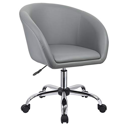 Duhome Luxury PU Leather Contemporary Salon Stool with Wheels Home Office Chair Round Swivel Accent Chair Tufted Adjustable Lounge Pub Bar (Gray)