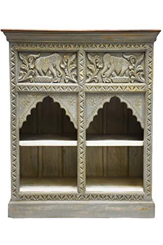Oosterse commode sideboard Hasana 95 cm grijs bruin | Orient vintage commodekast oosters met de hand versierd | Indiase landhuis dressoir van hout | Aziatische meubels uit India