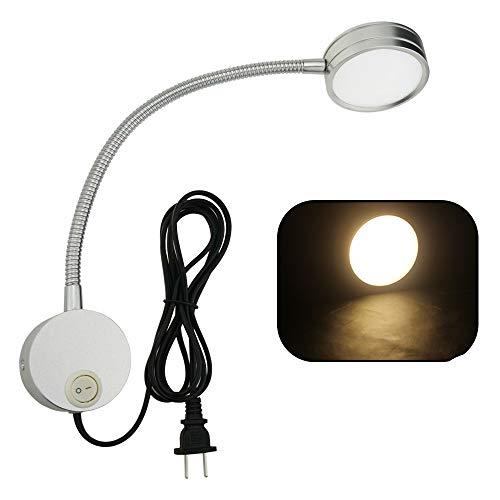 Hangang Flexible Plug Wired LED Wandleuchte, 5W Schwanenhals Wandlampe Wandleuchte mit Schalter und Grundplatte, für Schlafzimmer, Kinderzimmer oder