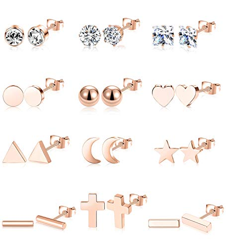 Ofeiyaa 12 Pairs Stainless Steel Earrings Stud Geometric Earrings Set Star Moon Cross Ball Triangle Heart Clear CZ Stud for Womens Girls Silver Rose Gold Tone