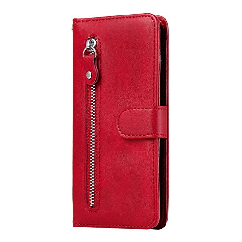 TOYYM for iPhone 11 Case (6.1 Inches),PU Leather Flip Notebook Bookstyle Handbag Zipper Pocket Wallet Case with Kickstand Card Holder Bumper Cover with Magnetic Protective(Red)