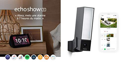 Echo Show 5 + Netatmo Caméra de Surveillance Extérieure Intelligente avec éclairage intégré Presence Sécurité, Détection de Personnes, Voitures et Animaux, Aluminium Noir