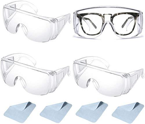 4 Par Gafas de seguridad Gafas Protectoras transparentes antivaho, Prueba de Polvo, a prueba de viento y rayones,para Laboratorio, Agricultura, Industria, trabajo y el deporte 4 de limpieza de lentes