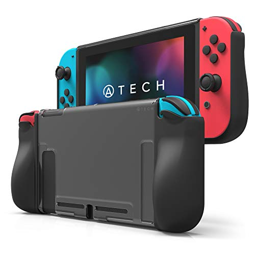 ATECH Clear TPU Protective Grip Case Compatible with Nintendo Switch Ergonomic Anti-Scratch Shock-Absorption Cover (Black)