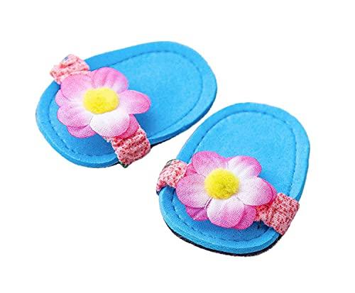Heless 135 - Bade-Schuhe für Puppen, in Blau mit Blumenapplikation, Größe 28 - 35 cm, ideal zum sommerlichen Puppen-Outfit