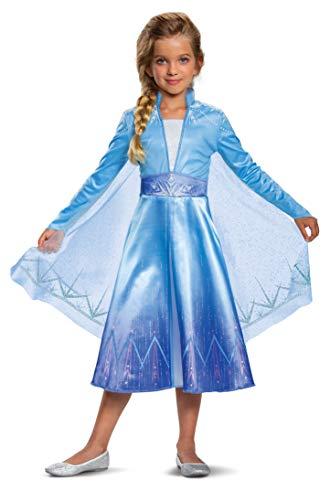 Disguise Disney Elsa Frozen 2 Deluxe Girls' Halloween Costume Blue, Small (4-6)