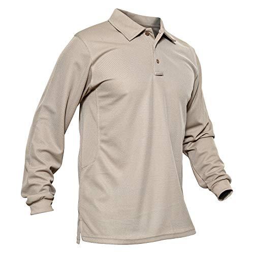 KEFITEVD Homme Polo à Manches Longues à Séchage Rapide T-Shirt de Sport Poids Léger Printemps Kaki