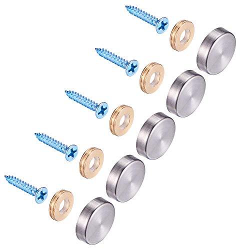 Genrics Spiegelschrauben für Türbeschläge, 20 Sets, 22 mm, Edelstahl, mit dekorativen Kappen, metall, 19 mm