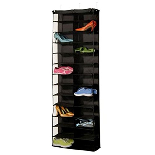 Zapatero organizador de zapatos, zapatero, organizador de almacenamiento, plegable, para puerta, armario, 26 bolsillos (negro)