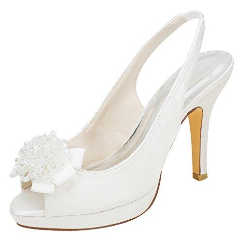 Emily Bridal Plataforma de Seda de Peep Toe de Silk Like Satin Stiletto para Mujer con Cinta de Lazo de Cristal (EU39, Beige)