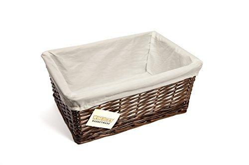 WoodLuv Medium Wicker Storage Basket with White Lining, Dark Brown by Elitehousewares